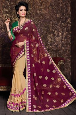 image of Fancy Print Regular Wear Grey Color Chiffon Saree