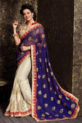 image of Grey-Brown Net Embroidered Designer Saree