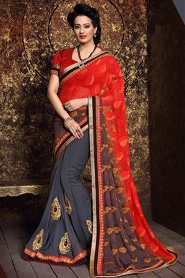 image of Orange Half-Half Saree with Banglori Blouse