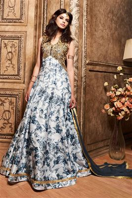 image of Scintillating Orange And Brown Color Designer Gown