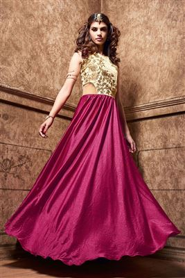 image of Pink And Beige Color Party Wear Designer Evening Gown in Satin Fabric