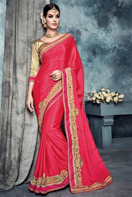 image of Designer Wear Bemberg-Georgette Saree with Embroidery in Orange Color