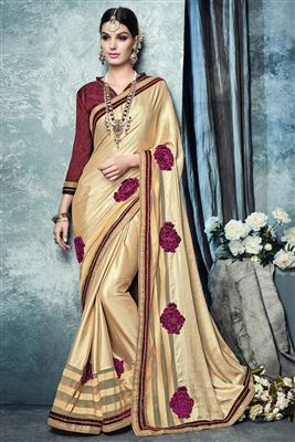 image of Georgette-Crepe Party Saree with Dhupion Blouse-27