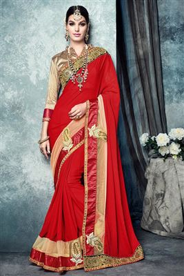 image of Red And Orange Color Fancy Silk Wedding Wear Embroidered Designer Saree