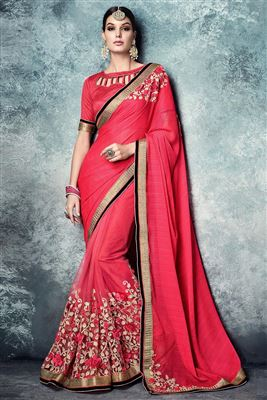 image of Pink Designer Embroidered Satin-Chiffon Saree