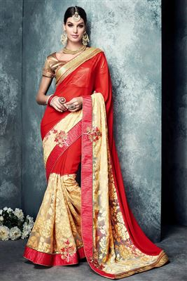 image of Orange Color Wedding Wear Embroidered Designer Cotton-Silk Saree