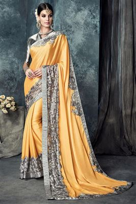 image of White Color Attractive Crepe Printed Saree
