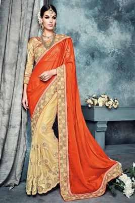 image of Yellow Color Party Wear Georgette Saree with Bangalori Blouse