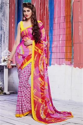 image of Soothing Jacquard-Georgette Party Wear Printed Sar