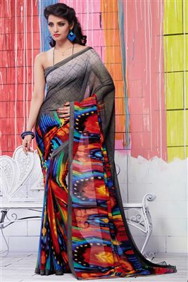 image of Black Color Casual Printed Georgette Fabric Saree With Blouse