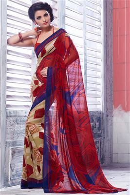 image of Fancy Print Georgette Fabric Saree With Blouse In Red And Beige Color