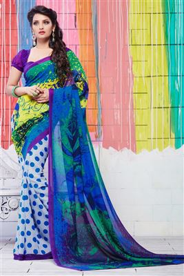 image of Blue And White Color Casual Wear Printed Saree In Georgette Fabric