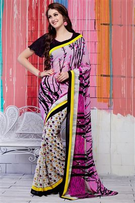 image of Pink Color Formal Wear Printed Georgette Saree