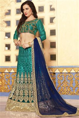 image of Designer Red Color Lehenga Choli In Banglori Silk Fabric With Embroidery