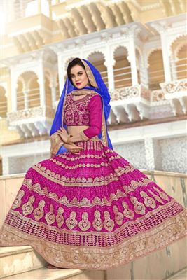 image of Wedding Bridal Net Lehenga Choli In Aqua Color with Embroidery