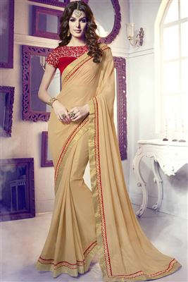 image of Cream Color Party Wear Designer Saree In Georgette And Shimmer Fabric