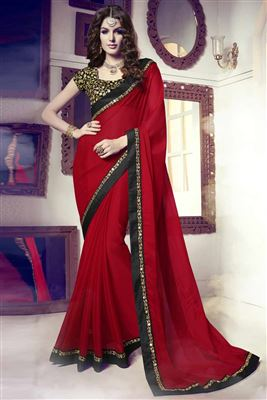 image of Red Color Embroidered Saree With Designer Blouse