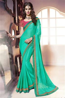 image of Green Color Party Wear Chiffon Saree With Embroidery