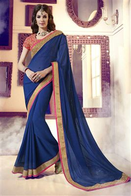 image of Enchanting Blue-Green Color Georgette-Net Saree