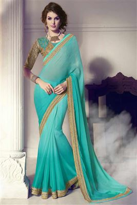 image of Cyan Color Party Wear Designer Embroidered Saree In Chiffon Fabric