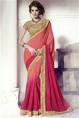 image of Pink Color Stylish Designer Embroidered Saree