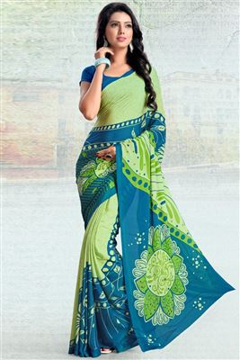 image of Green Fancy Print Silk-Chiffon Saree with Blouse