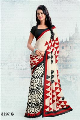 image of Off White Color Casual Wear Printed Saree In Silk Chiffon Fabric
