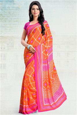 image of Orange Color Casual Printed Silk Chiffon Fabric Saree With Blouse