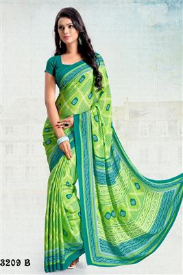 image of Formal Wear Fancy Print Silk Chiffon Fabric Saree In Green Color