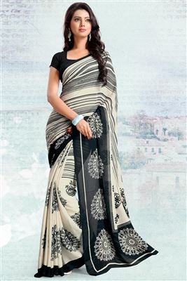 image of Cream Color Fancy Print Silk Chiffon Fabric Saree With Blouse
