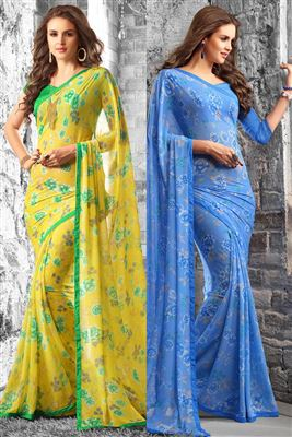 image of Grey Formal Wear Casual Print Silk-Chiffon Saree
