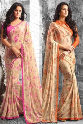 image of Designer Beige-Brown Color Embroidered Saree in Chiffon-Georgette Fabric