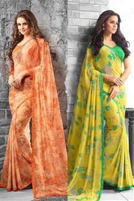 image of Striking Cream-Sea Green Color Silk Party Saree