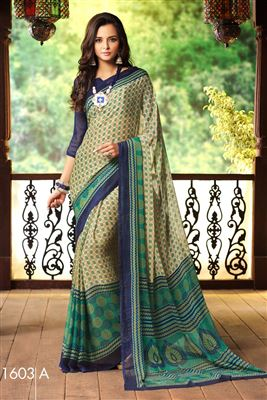 image of Green-Pink Half n Half Georgette-Brasso Party Sare