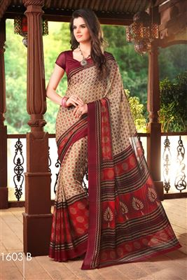 image of Lovely Beige-Pink Designer Saree