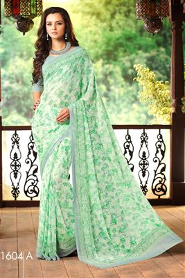 image of Peach Georgette-Net Embroidered Designer Saree