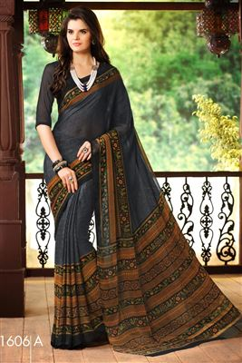 image of Fancy Fabric Cream-Brown Color Party Wear Saree with Dhupion Blouse