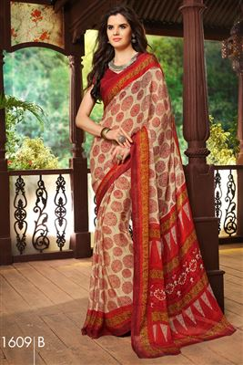 image of Cream And Green Color Printed Georgette Saree