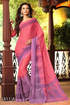 image of Charming Blue And Cyan Color Party Wear Printed Georgette Saree