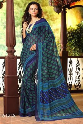 image of Regular Wear Turquoise Color Printed Chiffon Saree