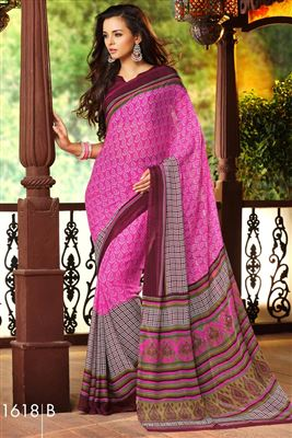 image of Designer Lycra-Georgette Fabric Saree in Green Color with Embroidery