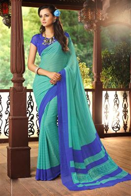 image of Black-Green Fancy Print Georgette Sari with Border