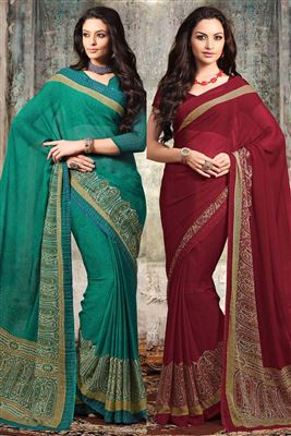 image of Chiffon Combo of 2 Designer Party Wear Sarees