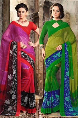 image of Green Color Enticing Georgette Saree