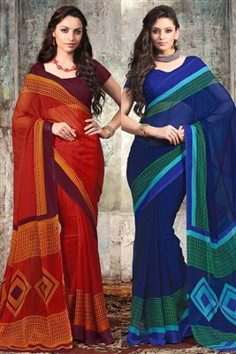 image of Elating Party Wear Sarees Combo