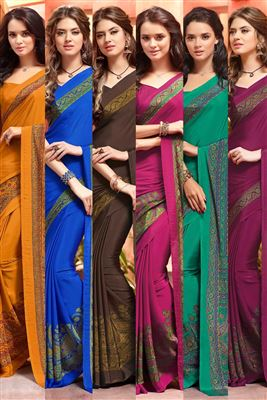 image of Combo of 6 Crepe Silk Designer Printed Sarees for daily Wear