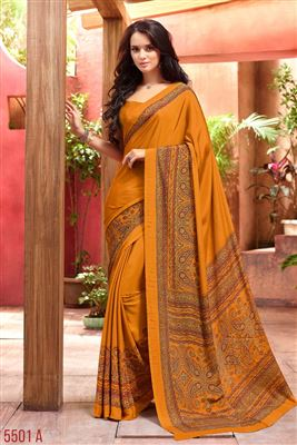 image of Orange Color Casual Fancy Print Crepe Silk Fabric Saree With Blouse