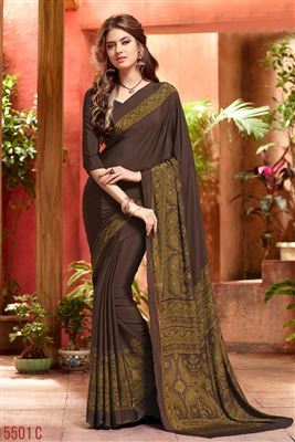 image of Embroidered Designer Chiffon Saree in Beige-Red Color