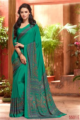 image of Peach Embroidered Designer Satin-Georgette Saree