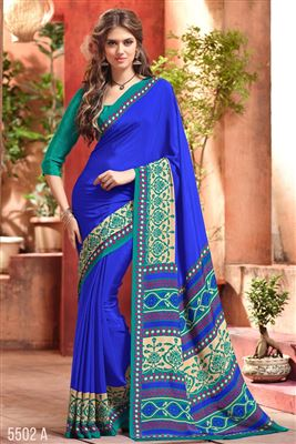 image of Blue Color Formal Wear Fancy Print Crepe Silk Fabric Saree